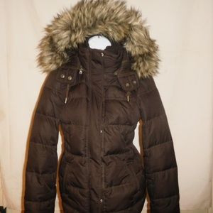Abercrombie & Fitch Faux Fur Puffy Hooded Jacket S